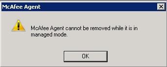 mcafee agent error