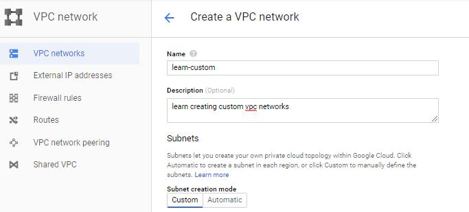 create custom vpc networks