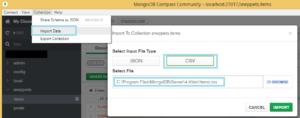 mongodb csv import mongo compass