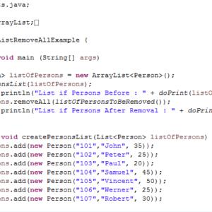 ArrayList removeAll() method