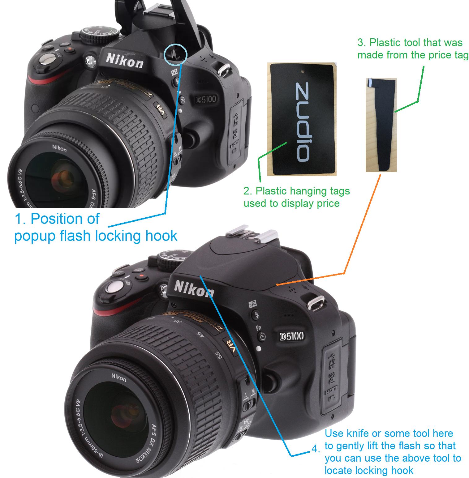fix popup flash stuck in dslr camera