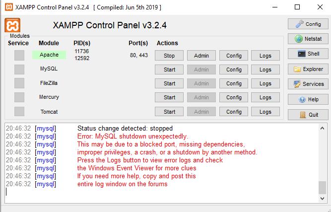 XAMPP Error: MySQL shutdown unexpectedly