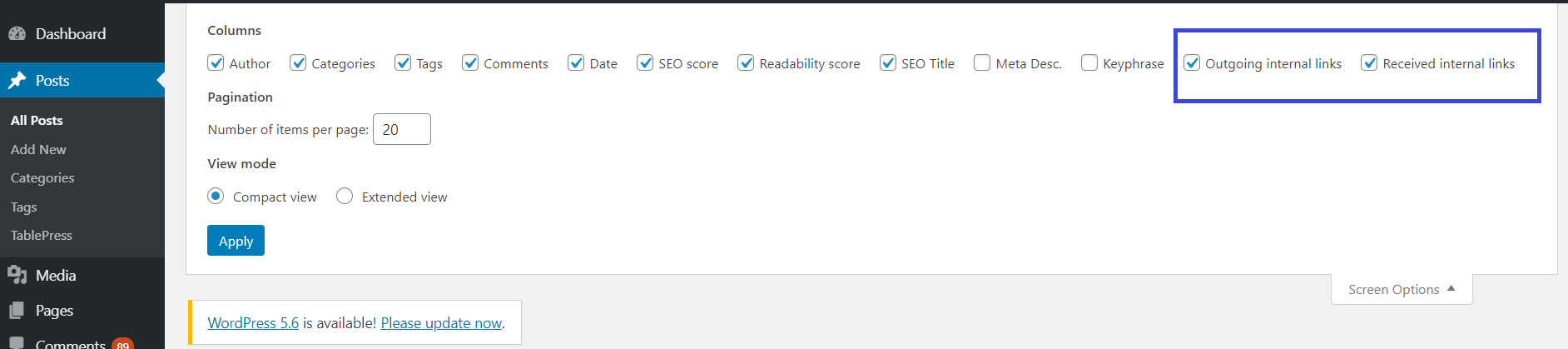 Incoming links are not getting displayed in WordPress dashboard
