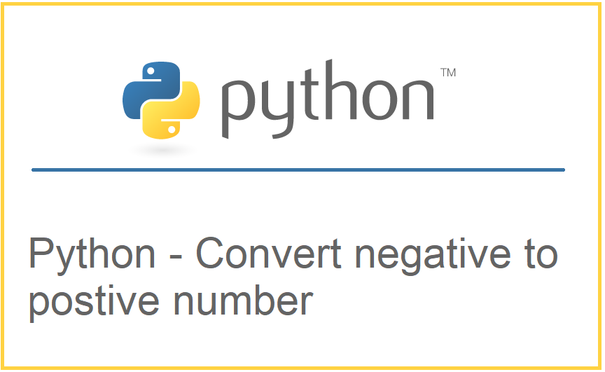 Convert negative to positive number in Python